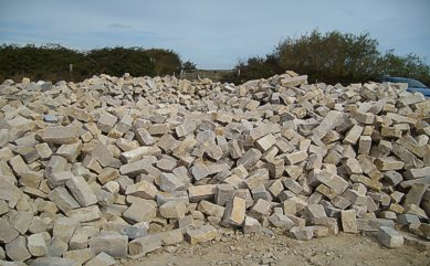 "Cropped Walling in stock at the quarry - ""Click here for a larger picture"""
