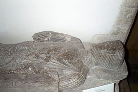 """Effigy of Sir Henry d'Estoke, Sheriff of Dorset in 1200, Church of Edward King and Martyr, Corfe Castle"""