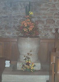 """Saxon/Norman Purbeck Stone font, Church of St. Nicholas, Studland"""